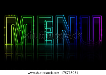 Cover for a menu with a neon sign on a black background