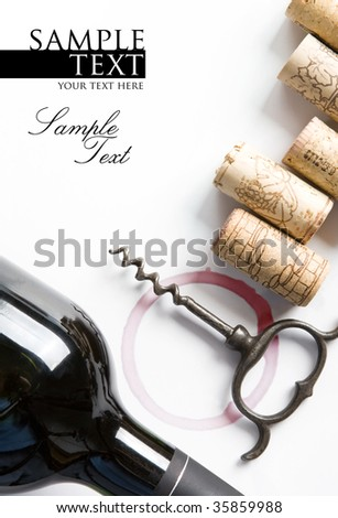 Cover for a winery menu. Bottle of red wine, corkscrew, corks. Space for text isolated on white. - stock photo