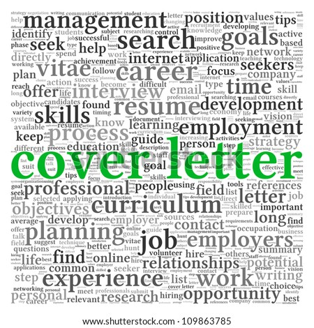 Cover letter concept in word tag cloud on white background - stock photo