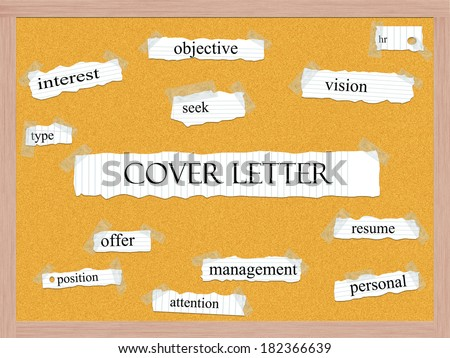 Cover Letter Corkboard Word Concept with great terms such as hr, resume, attention and more. - stock photo