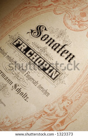 cover of an old chopin's sonatas note sheet - stock photo