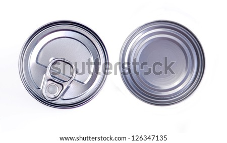 Cover of canned top view isolated on white background