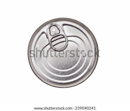 Cover of canned top view isolated on white background - stock photo