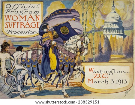 Cover of program for the National American Women's Suffrage Association procession, a woman, in elaborate attire, with cape, blowing long horn, with U.S. Capitol, Washington D.C., 3/3/1913. - stock photo