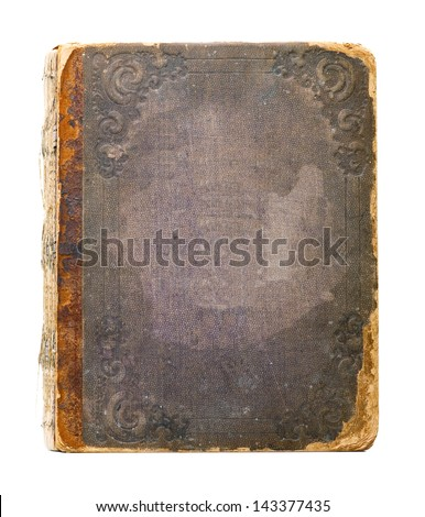 Cover of the old book on white background - stock photo
