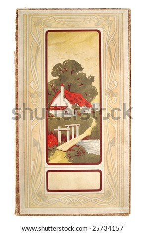 Cover of vintage paper box with picture of cottage - stock photo