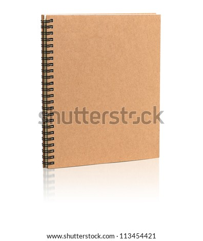 Cover recycle brown book  isolated on white background - stock photo