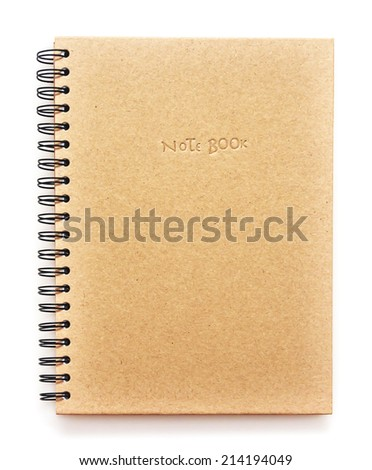 Cover recycle note book on white background - stock photo