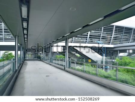 Covered bridge corridor  - stock photo