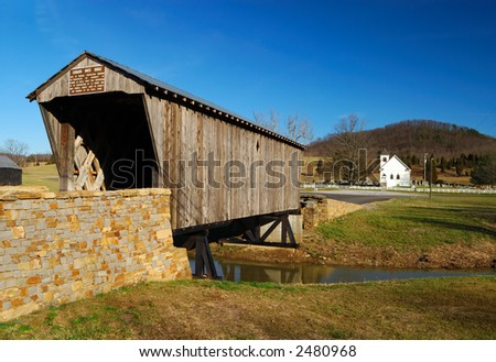 Covered Bridge & Country Church in Kentucky - stock photo