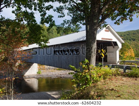 Covered Bridge in Dummerston near Brattleboro in Vermont - stock photo