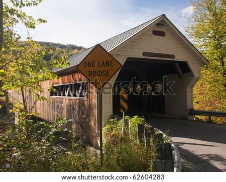 Covered Bridge in Dummerston near Brattleboro in Vermont - stock photo