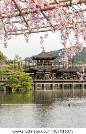 Covered Japanese Bridge over Lake in Garden behind the main building of Heian Shrine with out of focus cherry blossom foreground in Spring, Kyoto, Japan - stock photo