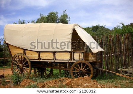 Covered ox wagon used by the voortrekers - stock photo