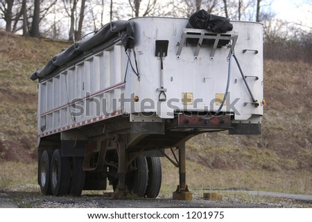 Covered Semi Truck Trailer - stock photo