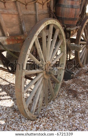 Covered Wagon Wheel - stock photo