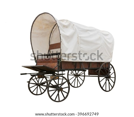 Covered wagon with white top isolate on white background - stock photo