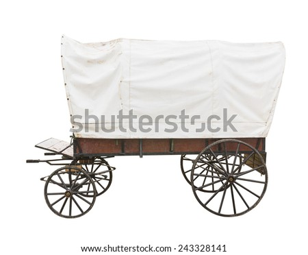 Covered wagon with white top isolated on white background - stock photo