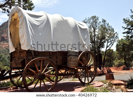 covered western wagon from  the days of the wild west