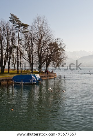 Covered yachts on the lake