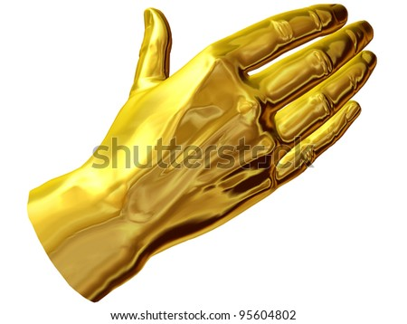 covering hand expression in gold
