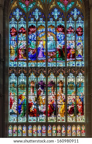 COVINGTON, KENTUCKY - OCTOBER 28: Large stained glass window in the St. Mary's Cathedral Basilica of the Assumption on October 28, 2013 in Covington, Kentucky - stock photo