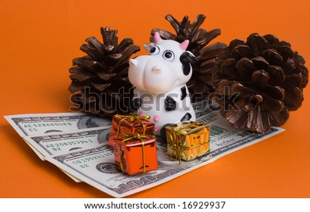 cow and gifts isolated on orange - stock photo