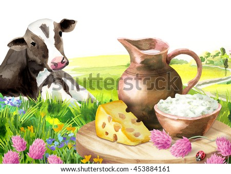 Cow and milk products in the landscape. Watercolor