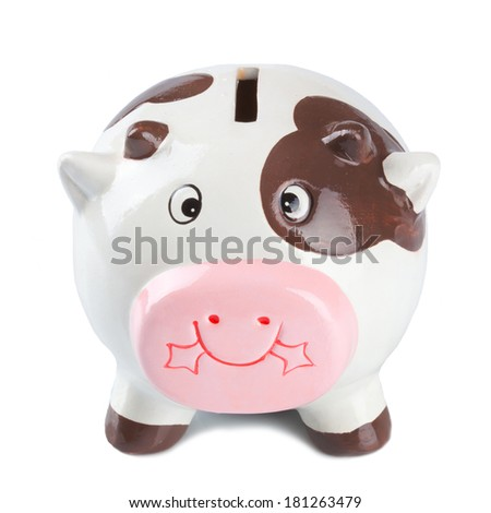 Cow Coin Box isolated on White Background - stock photo