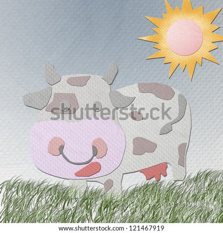 cow made from tissue papercraft - stock photo