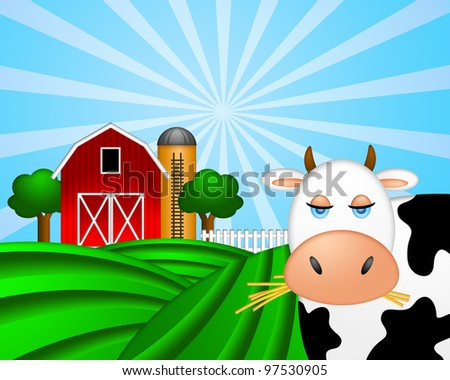 Cow on Green Pasture with Red Barn with Grain Elevator Silo and Trees Illustration - stock photo