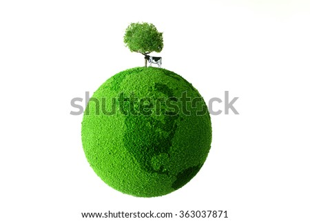 cow on  the green globe