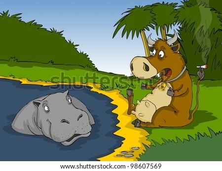 Cow  scared , because hippopotamus  they are caught smoking - stock photo