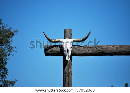 Cow Skull Fence Post - stock photo