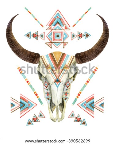 Cow skull in tribal style. Animal skull with ethnic ornament . Buffalo skull isolated on white background. Wild and free design. Watercolor hand painted illustration.  - stock photo