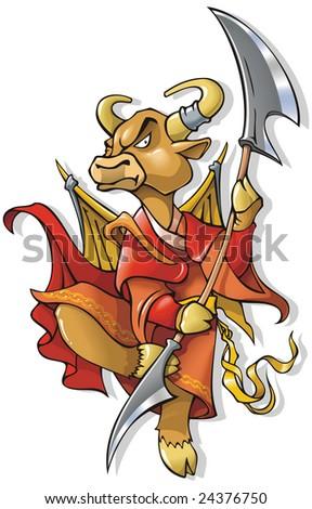 Cow, symbol of coming year, chinese horoscope, cartoon illustration - stock photo
