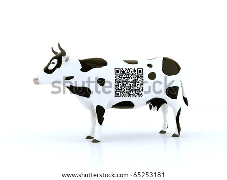 cow with a qr code 3d illustration - stock photo