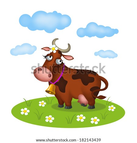 Cow with bell on the meadow