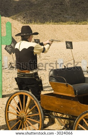 cowboy action shooting competition in Casa Grande Arizona, march 2007 - stock photo