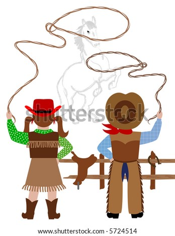 Cowboy and cowgirl catching the horse with lasso - stock photo