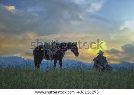 Cowboy and his horse at dawn,silhouette. Digital oil painting