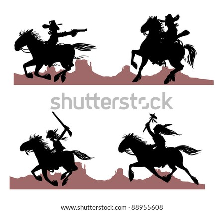 Cowboy and Indian silhouettes on Rocky background. - stock photo