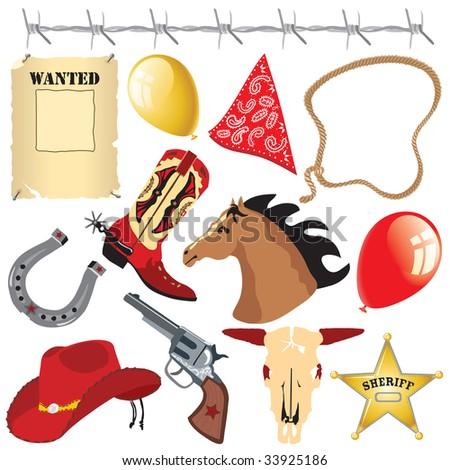 Cowboy birthday party clip art - stock photo