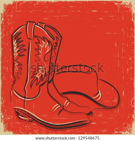 Cowboy boots and western hat .Raster - stock photo