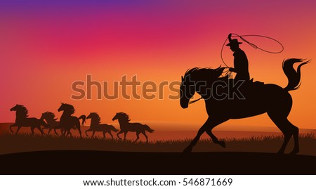 cowboy chasing the herd of wild mustang horses at sunset - wild west landscape