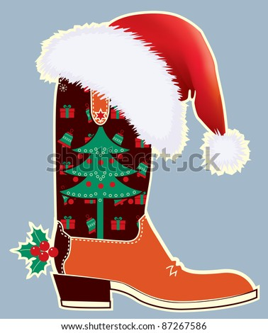 Cowboy christmas card with boot and Santa's red hat .Raster - stock photo