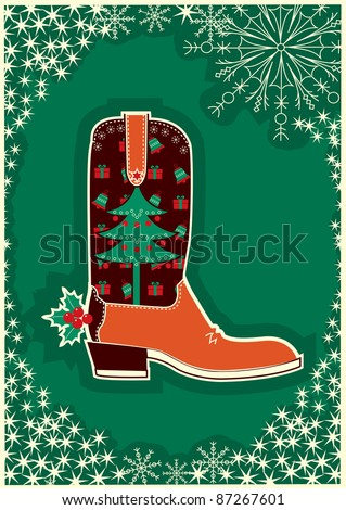 Cowboy christmas card with boot decoration.Raster - stock photo