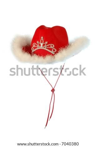 Cowboy Christmas hat. Isolated on white. - stock photo
