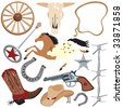 Cowboy clip art elements, isolated on white - stock photo