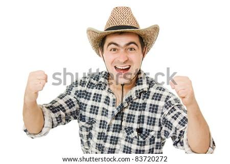 Cowboy compresses his hands into fists. - stock photo